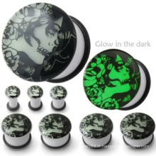 CRÉME Glow in the dark plug Tunnel de chair Tunnels d'extension Amplificateurs Earlets Bouchons d'oreille