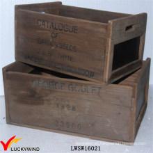 Rual Área Reciclado Fir Caja de madera antigua caja con pizarra