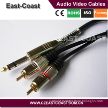12ft Gold plated Metal shell 6.35mm stereo to 2rca audio cable