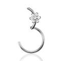 G23 Titanium Nose Piercing Flower Gem Hinged Septum Ring
