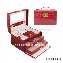 venta caliente caja de joyería de cuero con croco patrón