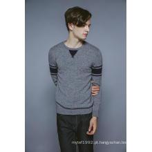 100% cashmere manga comprida em torno do pescoço tricô homens camisola