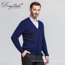 Suéter de la rebeca de los hombres del vintage azul marino atractivo del cuello en V de la promoción con calidad más fina
