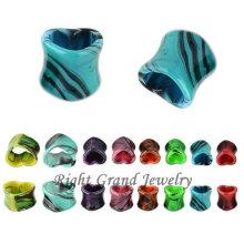 Colorful UV Splatter Heart Pattern Acrylic 1/2'' Gauge Ear Plugs
