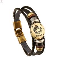 Personnalité Vintage12 Constellations Gravé Zodiac Bijoux En Cuir Bracelet Bracelet