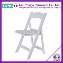 White Resin Commercial Grade Folding Chair with Padded Seat