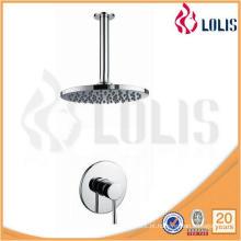 Banheira de chuveiro de bronze redonda e braços de chuveiro conjunto de torneiras de chuveiro escondido no banheiro