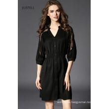 2016 mujer nueva moda sexy vestido negro con cuello en V para el verano