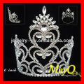 Fashion Peacock and heart design Large crystal pageant tiara crown