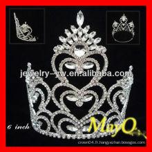 Fashion Peacock and heart design Grande couronne de tiare en cristal