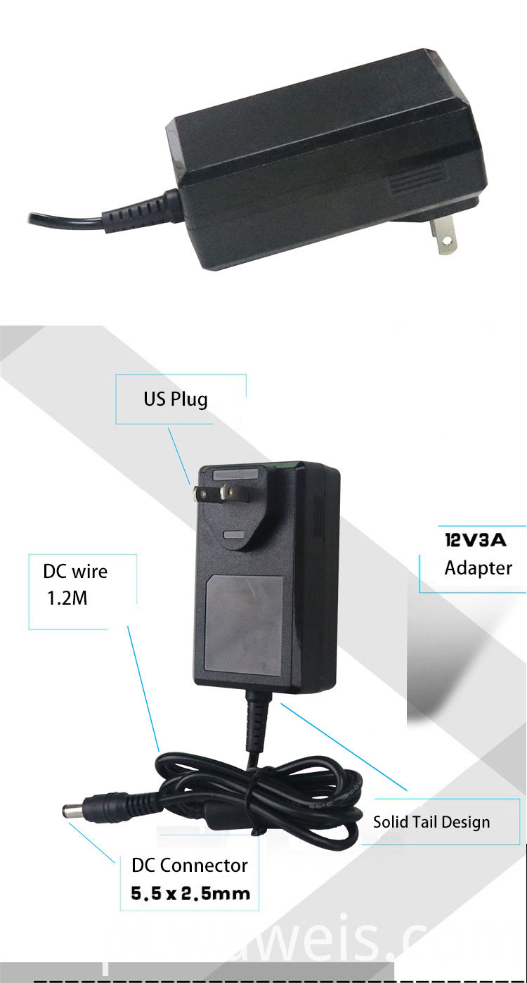 Wall Mount 12v 3a Ac Adapter