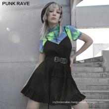 Dark series style spring women dress strap ruffles A line black woven dresses OPQ-928LQF lady clothes wholesale price PUNK RAVE