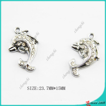Small Size Metal Silver Dolphin Charm