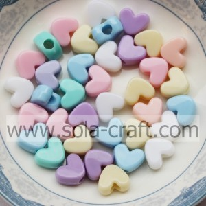 Mix Color Heart Shaped Beads Opaque Acrylic for Hair Decoration
