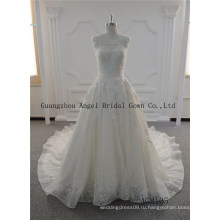 Длинный поезд с стеклянный бисер круглый шеи кружева свадебное платье