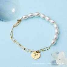 2021 New Trends DIY Jewelry Stainless Steel Retro Semi-spliced Chain Pearl Bracelet