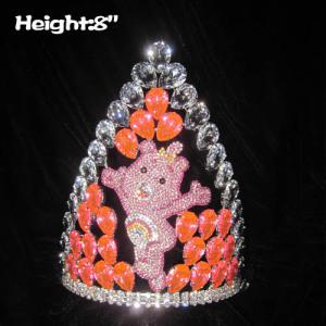 Crystal Pink Bear Princess Crowns With Big Diamonds