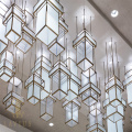 Large chinese style Cube crystal led restaurant chandelier
