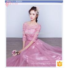 Gloriosa rosa largo encaje llanura teñido más tamaño barato manga corta vestido de dama de honor