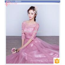 Славный Розовый Длинные Кружева Покрашенная Равнина Плюс Размер Дешевые Короткие Рукава Платье Невесты