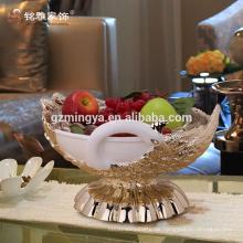 Heiße verkaufengroßverkaufhauptdekoration niedriges MOQ dekoratives Pfaufruchtplattenharzmaterialkompott