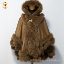 New Fashion Cashmere with Fur Trim Fur Cloaks Fox Fur Capes for Women