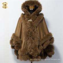 Новый кашемир моды с меховой отделкой Fur Cloaks