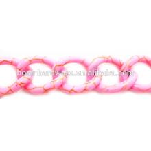 Moda Alta Qualidade Metal Alumínio Light Pink Cadeia Curb