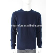 Los hombres visten suéteres de cachemira color azul marino clásico 100%
