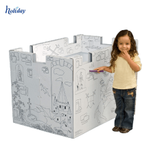 Papel corrugado plegable Kids Playhouse para las ventas, DIY Diseño Outdoor Large Kids Paper Playhouse