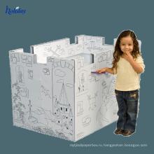 Гофрированная бумага складной Детский домик для продажи,дизайн DIY Открытый большой Детский бумажный театр