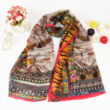 Women Retro Design High Level Trendy Silk Wool Scarf