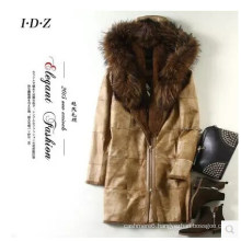 Real Rabbit Leather and Fur Coat with Raccoon Fur on Collar Women Long Style