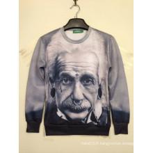 Sweat à capuche en noir et blanc 3D Einstein