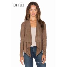 Braune Farbe plus Größe Suede Women Jacket