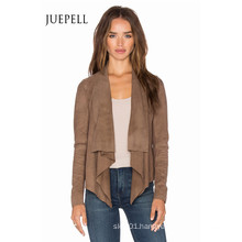 Brown Color Plus Size Suede Women Jacket