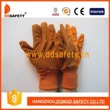 Guantes anaranjados Woking de la lona, puntos del PVC (DCD302)