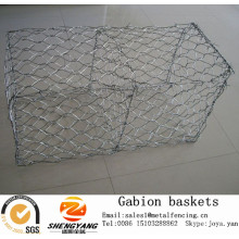 Anti corrosion galvanized wire woven gabion boxes reservoir closure stone gabion cages river supporting gabion baskets
