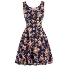 Kate Kasin Elegante y Slim Fit Casual sin mangas U-cuello vestido de verano de impresión floral KK000297-1