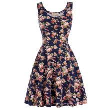 Kate Kasin Stylish & Slim Fit Casual Sleeveless U-Neck Floral Print Summer Dress KK000297-1