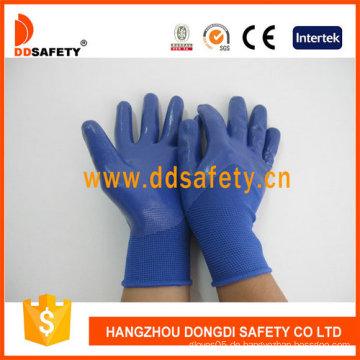 Blaues Nylon mit blauem Nitril-Handschuh-Dnn916