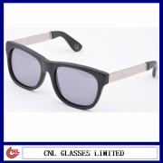 American Design Leather Sunglasses, Polarized Lens Leather Sunglasses With Metal Arms