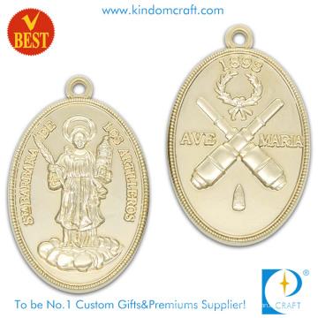 Suministro de 3D Presión Lateral estampado de Medalla Religiosa de Chapado en Oro en Aleación de Zinc