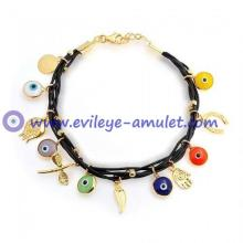 Good Luck Bracelet Multi Color Vermeil Brown Leather Evil Eye Charm Bracelet