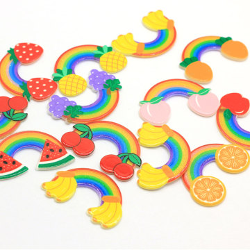 100Pcs/Lot Kawaii Rainbow Resin Cabochons Cute Sweet Rainbow With Fruit Decor Cabs For Hair Bow Center DIY