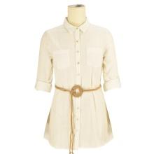 2020 diseñador de moda modesto personalizado 100% algodón oficina señoras equipado blanco con cordones camiseta vestido mujer