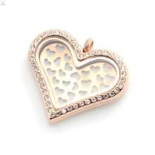 Novo design diy rose gold heart forma placas encantos para ajuste para 35mm coração flutuante medalhão