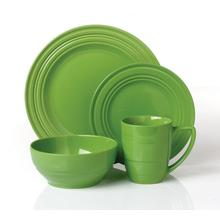 Ceramic stoneware green color dinner set for 4person