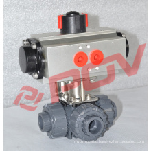 Pneumatic dn15 double union 1/2'' pvc ball valve