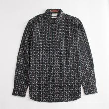 Langarm-Baumwoll-Herrenhemd mit normalem Chic-Print